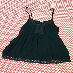 Hollister Black Lace Fringe Spaghetti Tank Top